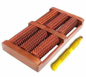 Acupressure And Pain Relief 6 Roller Foot Massager Wooden (Brown)