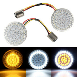 Amber White 1157 LED Turn Signal Light Inserts For Harley Touring Softail Glide