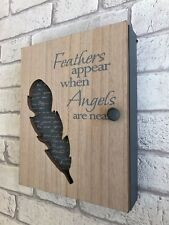 Wooden Key Box 6 Hooks Cabinet Keys Angel Feather Design Storage Wall Organiser