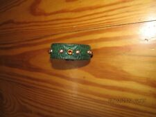 Beautifully Tooled Green Leather Wristband, Handmade Amber Jewel Copper Studs 8