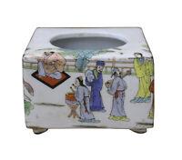 Chinese Oriental Scenery Print Graphic Ceramic Holder Container cs2207