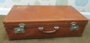 Large Vintage Leather Suitcase Case with Interior Straps