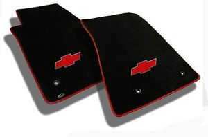 NEW BLACK FLOOR MATS 2011-2014 Chevy Cruze with Red Bowtie Logo Red Binding