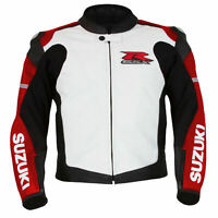 GSXR Suzuki Motorcycle Leather Racing Jackets Motorbike Sports Protective Zip Up