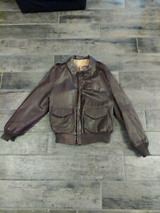 VTG 1980s Cooper USAF US Air Force A-2 Goatskin Leather Flight Bomber Jacket 42R