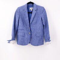 J. Crew Womens Schoolboy Blazer Jacket 100% Linen Size 4 Crosshatch Blue