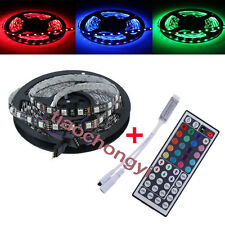 Black PCB 5M 5050 SMD RGB 300 LED Strip Decoration Light IP60+ Remote controller