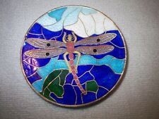 """Vintage 4"""" Round Cloisonne Dragonfly Image Dish, Small Blemish On One Edge"""