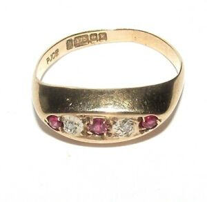 STUNNING VINTAGE 9ct YELLOW GOLD RUBY & DIAMOND GYPSY STYLE RING SIZE L