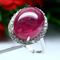 NATURAL 13 X 16 mm. CABOCHON RED RUBY & WHITE CZ RING 925 STERLING SILVER