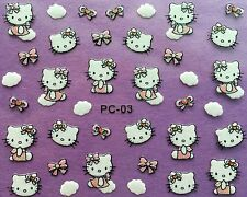 Nail Art 3D Glitter Decal Stickers Hello Kitty Clouds Bows XF315 PC03