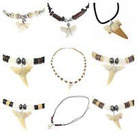 Real Shark Tooth Necklace Adjustable Pendant Boys Mens Skater Surfer Teeth