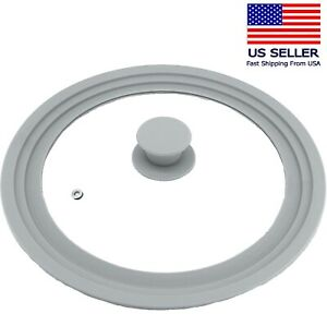 Universal Lid for Pots Pans Skillets, Glass with Silicone Rim 9-11 in Cookware