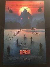 Kong Skull Island signed poster cast x3 photo proof Tom Hiddleston Brie Larson