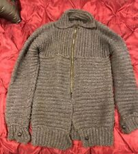Hand Knitted WOOL no Mohair Cardigan Soft sweater coat Collared Unisex XL XXL