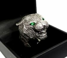 Custom Black Panther Heavy  Silver Ring With Green Tourmaline By Sacred Angels
