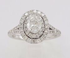 2.79 CT OVAL CUT D/VVS1 HALO CLEAR DIAMOND ENGAGEMENT RING 14K WHITE GOLD FINISH