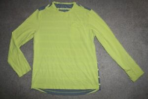 Mens Sz Large Lululemon Yellow Gray Stripe Pocket Tee Shirt Pullover Top LS