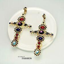 Boucles d`Oreilles CLIP Doré Croix Gros Multicolore Mini Perle Bleu Baroque X8