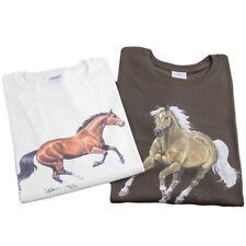 LADIES SS HORSE DESIGN T- SHIRT 100% COTTON BROWN SIZES S, M, L, XL A/V