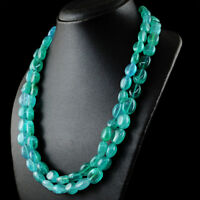 770.00 Cts Earth Mined 2 Strand Green Emerald Oval Shape Beads Handmade Necklace