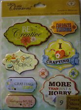 NEW 9 pc I LOVE CRAFTING STICKER MEDLEY Be Creative Hobby Crafty Craft K & CO 3D