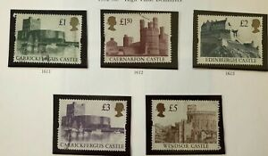 GB 1992 #s 1445-1448 - HIGH VALUE CASTLE DEFINITIVE - SET OF 5 -  USED