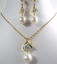 10mm White South Sea Shell Pearl 18KGP Cubic Zirconia Pendant Earrings Necklace