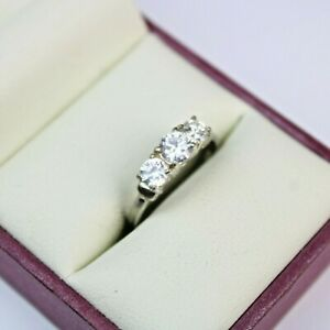 925 Sterling Silver Ladies Ring Size N Three Clear Stone Trilogy Ring