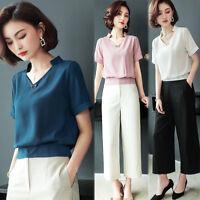 Fashion Summer Women Ladies V Neck Short Sleeve Chiffon Shirt Blouse Top Plus SZ
