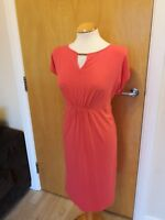 Ladies M&S Dress Size 12 Coral Orange Stretch Jersey Smart Casual Day