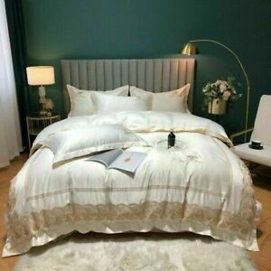 Luxury Satin Silk Cotton Lace Embroidery Bedding Set Duvet Cover Set Bed Linen