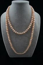 "Dr. Pearl 47"" long 8-9mm Round Baroque Pink Freshwater Pearl Necklace"