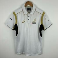 Asics Wallabies Polo Shirt Mens Size Medium White Short Sleeve