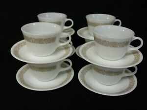 CORELLE WOODLAND BROWN SET OF 8 PYREX CUPS AND 8 SAUCERS