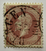 1856 NORWAY 8 SKILLING STAMP #5 WITH 1861 BERGEN SON CANCEL POSTMARK