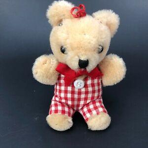 "Lovely Vintage bear 4"" Dollhouse Miniature Plush Stuffed Animal Doll Toy Gingham"