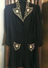 True Vintage Black Rayon Embroidered 1930s/1940s dress Sz S