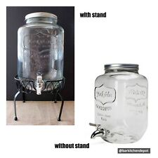 8L Yorkshire Vintage Mason Jar Glass Juice Dispenser with Metal Stand