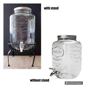 8L Yorkshire Vintage Mason Jar Glass Juice Dispenser