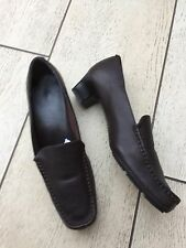 Marks & Spencer FOOTGLOVE Dark Brown LEATHER Ladies Small Heel Loafers 5.5