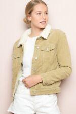New! Brandy melville tan fur collar  button up Shaine Corduroy jacket NWT