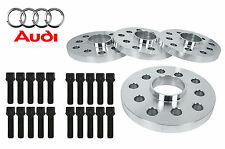 4 PC AUDI A3 A4 S4 5x112 MM 15 MM THICK HUB CENTRIC WHEEL SPACERS W/ BLACK BOLTS