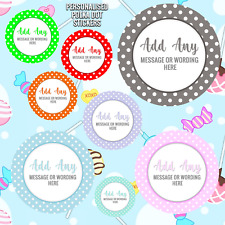 PERSONALISED POLKA DOT SWEETY BAG ROUND STICKERS SWEET CONES PARTY BAGS FAVOURS