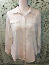 Liz Claiborne L Large White Cotton Button Down Embroidered Details Stripes! EUC