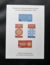 TIMBRES D'ALLEMAGNE RFA FEUILLET PROJET  DE TIMBRES POUR LES OLYMPIADES DE 1976