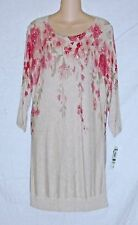 INC – SPARKLY DRESS – SUMMER KNIT – BEIGE & PINK FLORAL – SIZE L – NWT $80