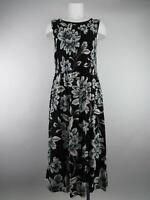 Croft & Barrow Women's M Black Rayon Floral Shirred Scoop Neck A-Line Dress