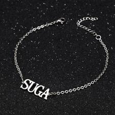 KPOP Bangtan Boys SUGA Name Letter Stainless Steel Bracelet Adjustable