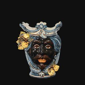 Testa di moro vaso in Ceramica di Caltagirone uomo nero fatta a mano con limoni